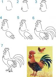 Coloring Page : Wonderful How To Draw Rooster Coloring Page How To ...