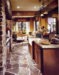 Stone Floors For Kitchen Tuscan Kitchen With Stone Flooring And Large Island With Quartz