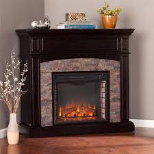 southern enterprises grantham 45 inch corner convertible electric fireplace mantel w infrared heater ebony w black river faux stone fi9359 gas log