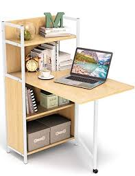 Small folding desk Hidden Storage Image Unavailable Amazoncom Amazoncom Tribesigns Small Folding Computer Desk With Bookshelves