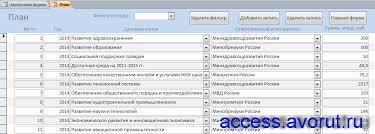 Скачать базу данных access Планирование бюджетных ассигнований  Форма План базы данных access Планирование бюджетных ассигнований