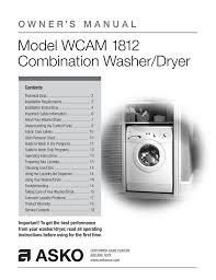 Washing Machine Load Size Chart Asco Wcam 1812 Technical Data Manualzz Com