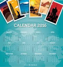 Travel Calendar 2016 Calendar Travel Destinations Vector Download