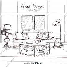 hand drawn modern living room free vector