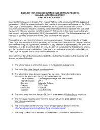 Mla Works Cited Worksheet