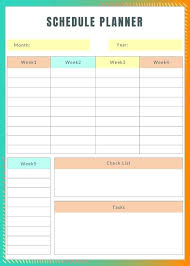 Weekly Task Schedule Monthly Task Planner Template