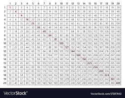 multiplication table 20x20 vector image