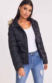 sakinah black faux fur trim hooded jacket coats jackets prettylittlething usa