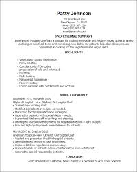 Resume Template For Hospital Positions Professional Hospital Chef