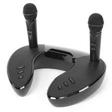 Loa bluetooth cao cấp ST 2020 - Dàn âm thanh karaoke mini - Mặt đồng hồ led  cực đẹp - Tặng kèm 2 micro không dây - Loa karaoke bluetooth xách tay