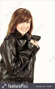 teenagers fashion portrait of beautiful young teenager girl with leather jacket