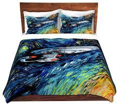 van gogh star trek painting twill duvet cover contemporary