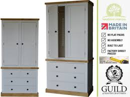 Painted Pine Bedroom Furniture Double 4 Drawer Rustic Cottingham Wardrobe Cott 4lc Rustic