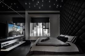 Black and white bedroom ideas for young adults Modern Bedroom View In Gallery Stunning Bedroom In Black With Tufted Wall Ceiling Led Inserts And An Expansive Entertainment Unit Decoist Masculine Bedroom Ideas Design Inspirations Photos And Styles