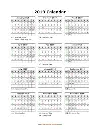 Full Page Blank Calendar Template Yearly Printable Calendar 2019 With Holidays Free Calendar