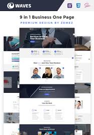 Single Page Website Design Template Waves 9 In 1 Business One Page Website Template