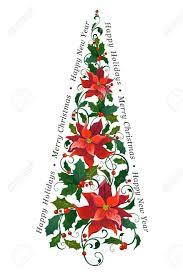 Decorative Christmas Tree Made Of Poinsettia Royalty Free
