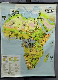 Africa Vintage Decoration Item Rollable School Map Wall