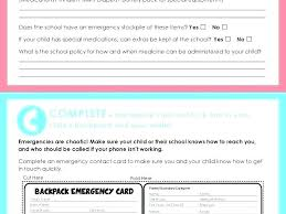 Emergency Card Template Child Id Card Template Free Wallet Id Card Template Emergency