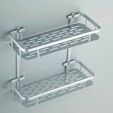 high quality 2 tier bathroom storage organizer holder shelf with hooks