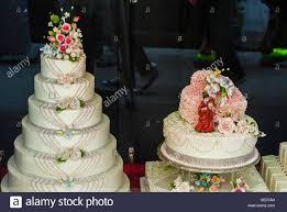 New York City Ny Usa Chinese Wedding Cakes On Display In Bakery
