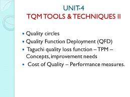 total quality management prepared by roshin rukshana k lect ece  6 unit 4 tqm tools techniques ii quality circles quality function deployment qfd taguchi quality loss function tpm concepts improvement needs cost