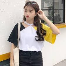 トレンドファッション配色デザインカットソー2018春夏新作 韓国