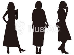 女性シルエットファッション013イラスト No 1047690無料