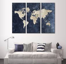 Small Picture 3 Panel Framed Modern Blue World Map Canvas Art Wall canvas