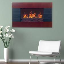 electric fireplace with wall mount and remote in mahogany
