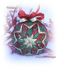218 best Quilted Christmas Ornaments. images on Pinterest ... & Quilted Christmas Ornament Sparkling red green gold Adamdwight.com
