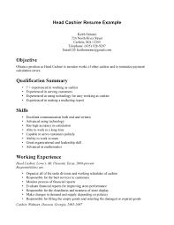 Cashier Resume Description Resume Work Template