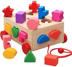 intelligence box for shape sorter cognitive and matching wooden building blocks baby kids children eductional toys ksa souq