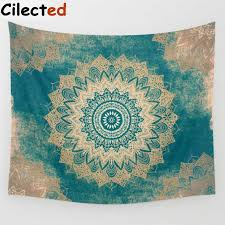 cilected 24 colors psychedelic tapestry cotton geometric lotus flower pattern indian mandala tapestry wall hanging home decor
