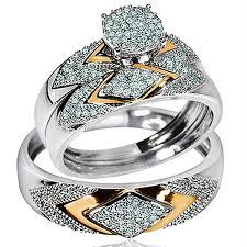 Amazon Com His Her Wedding Rings Set Trio Men Women 14k White