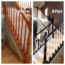 Stair Finishes Pictures Honey Oak Stairs Redo General Finishes Java Gel Stain Painted