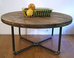 furniture diy round reclaimed wood coffee table with black pipe