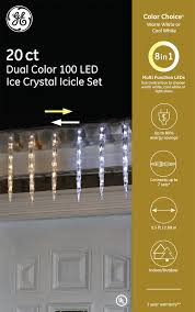 Ge 100 Count Cool White Led Christmas Icicle Lights 89253 Ge Color Choice Led Ice Crystal Icicle Set 20