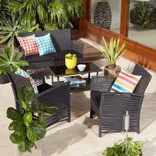 outdoor furniture outdoor settings table chairs kmart 4 piece wicker look conversation set black