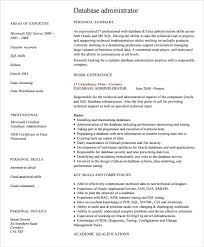 7 Sample Database Administrator Resumes Sample Templates