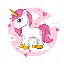 Cute Magical Unicorn Vector Design On White Background Print