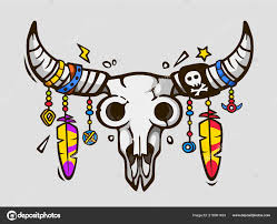 Boho Chic Styl Etnické Tetování Indiánské Nebo Mexické Býčí Lebka