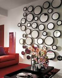 modern living room wall decoration ideas numerous various sized round shape wall mirrors ideas for living