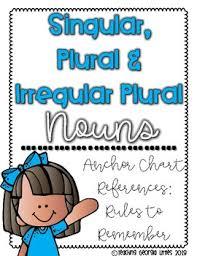 Singular Plural And Irregular Plural Nouns Anchor Charts