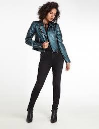 metallic faux leather biker jacket