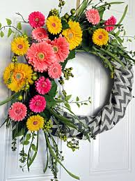 summer wreaths for front doorChevron Burlap Spring Flowers Wreath Front Door Spring Summer
