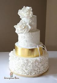 4 Tier Wedding Cake Designs Ruffles Roses 4 Tier Wedding Cake With Gold Leaf And Lace