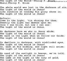 The Light Of The World Is Jesus Lyrics The Light Of The World By Philip Bliss Christian Hymn Or