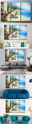 handmade Mediterranean oil painting on canvas beach life canvas wall  pictures modern home decoration wall art