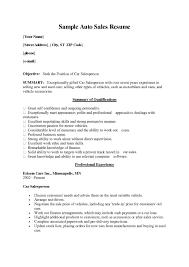 Automobile Salesperson Sample Job Description Car Salesman Resume